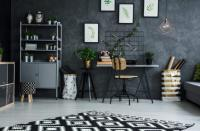Multifunctional room with grey wall