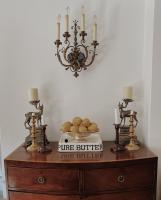 Dining room buffet table with symmetrical candles