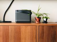 Dining room buffet table with two plants and a speaker