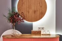 Dining room buffet table with glowing wooden circle