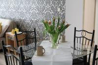 Dining room with classy wallpaper