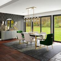 Dining room with luxurious wallpaper