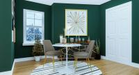 Dining room with vibrant green walls