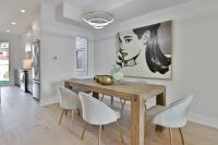 Dining room with oversized art