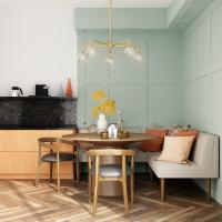 Dining room with pastel green wall