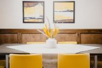 Dining room with wood wainscoting