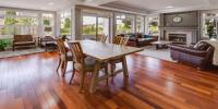 Traditional hardwood flooring in a dining room