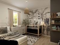 Black and white nursery room with white furniture