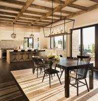 Bright dining room with dark furniture