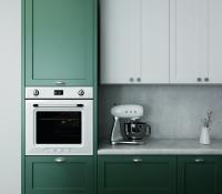 Dark green cabinets and oven