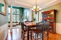 Dining room with aqua walls and white wainscot