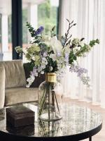 Flower bouquet on marble table