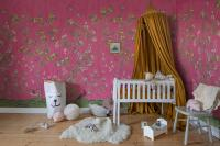 Flower wallpaper with pink background and plush toys
