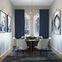 Light gray walls and blue curtains