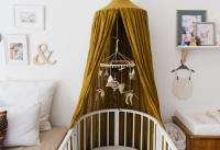 Nursery with white crib and green canopy veil