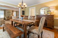 Pale yellow walls wood table