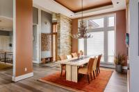 Peach walls in luxurious dining room