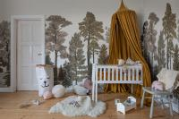 Room with forest wallpaper yellow canopy