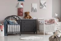 Twin cribs with dresser and plush toys
