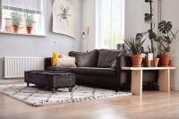 Coffee table on wheels as an alternative dining area