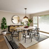 Dining room with black and tan colors