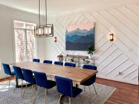 Dining room with deep blue and crisp cream colors