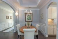 Dining room with pale gray and white colors