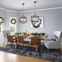 Dining room with rich brown and cool gray colors