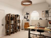 Home office with white walls and a wooden bookshelf