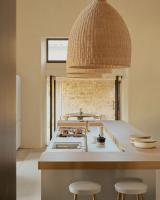 Modern kitchen island with large lights