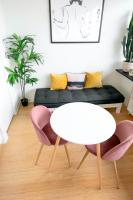 Small dining area with a round white table