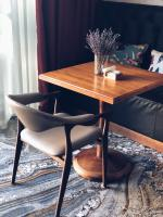 Small wooden table in a modern designed room