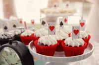Alice In Wonderland themed cupcake topper with playing cards