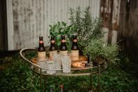Bar cart with drinks in the backyard