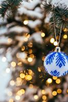 Blue and white Christmas decoration on tree