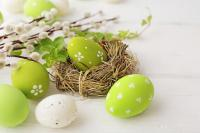 Green and white painted Easter eggs