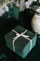 Green gift with white bow