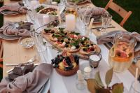 Italian table set with appetizers