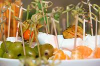 Knotted bamboo skewer on canapes