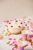 Pink and yellow birthday table
