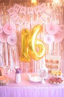 Pink and yellow sweet sixteen party