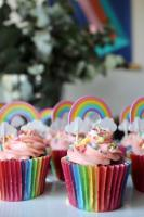Rainbow cupcake toppers with colorful sprinkles
