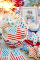 US flag cookies with sugar icing