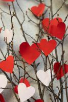 Valentines Day tree with paper hearts